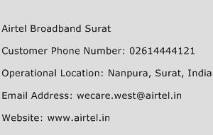 Airtel Broadband Surat Phone Number Customer Service