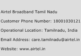 Airtel Broadband Tamil Nadu Phone Number Customer Service