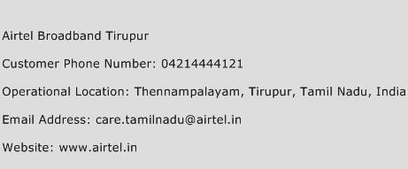 Airtel Broadband Tirupur Phone Number Customer Service