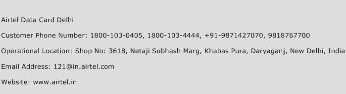 Airtel Data Card Delhi Phone Number Customer Service