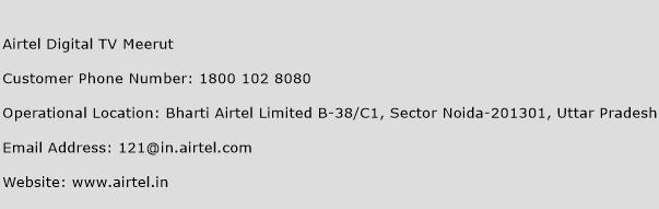 Airtel Digital TV Meerut Phone Number Customer Service