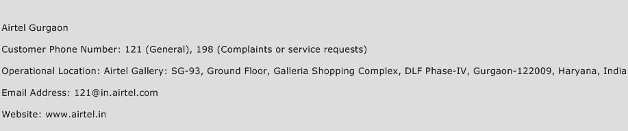 Airtel Gurgaon Phone Number Customer Service