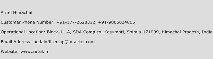 Airtel Himachal Phone Number Customer Service