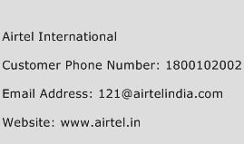 Airtel International Phone Number Customer Service