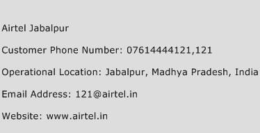 Airtel Jabalpur Phone Number Customer Service