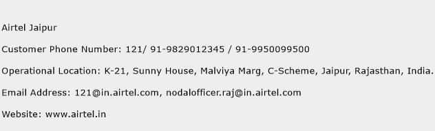 Airtel Jaipur Phone Number Customer Service