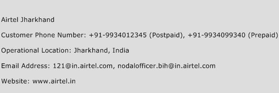 Airtel Jharkhand Phone Number Customer Service