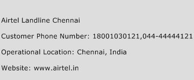 Airtel Landline Chennai Phone Number Customer Service