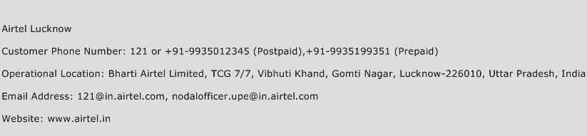 Airtel Lucknow Phone Number Customer Service