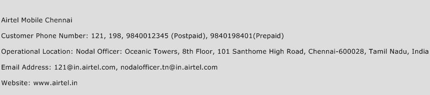 Airtel Mobile Chennai Phone Number Customer Service