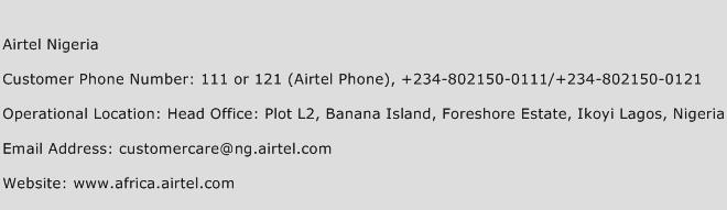 Airtel Nigeria Phone Number Customer Service