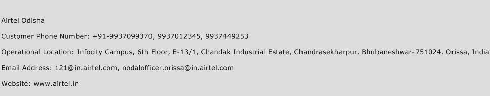 Airtel Odisha Phone Number Customer Service