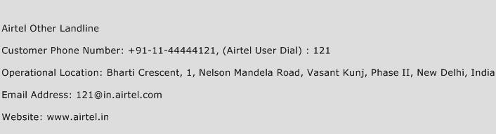 Airtel Other Landline Phone Number Customer Service
