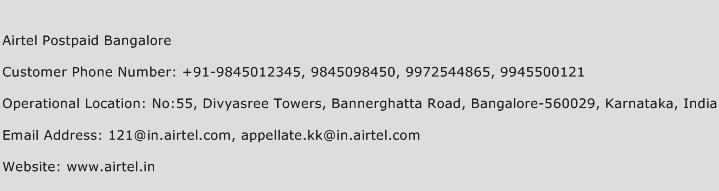 Airtel Postpaid Bangalore Phone Number Customer Service