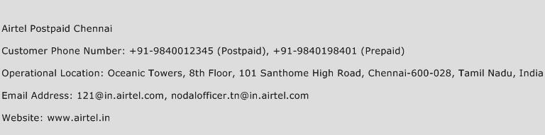 Airtel Postpaid Chennai Phone Number Customer Service