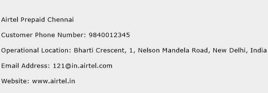 Airtel Prepaid Chennai Phone Number Customer Service