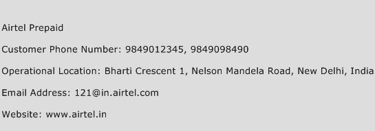 Airtel Prepaid Phone Number Customer Service