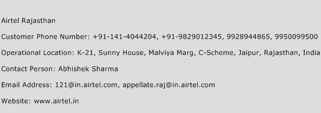 Airtel Rajasthan Phone Number Customer Service