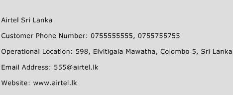 Airtel Sri Lanka Phone Number Customer Service