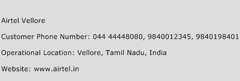 Airtel Vellore Phone Number Customer Service