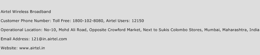 Airtel Wireless Broadband Phone Number Customer Service