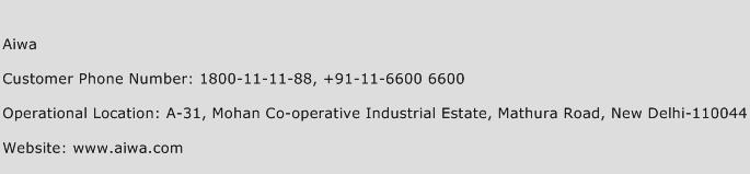 Aiwa Phone Number Customer Service
