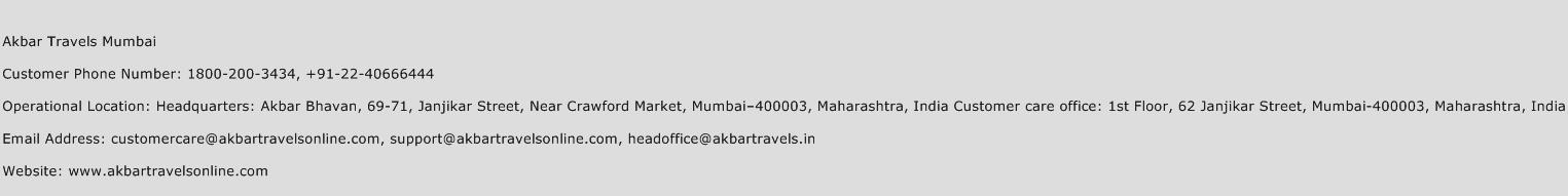 Akbar Travels Mumbai Phone Number Customer Service