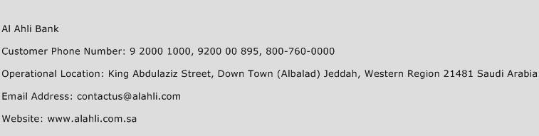 Al Ahli Bank Customer Service Phone Number Contact