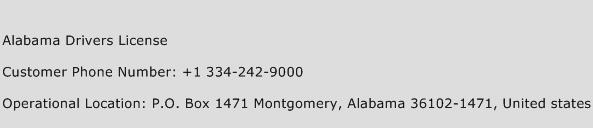 Alabama Drivers License Phone Number Customer Service