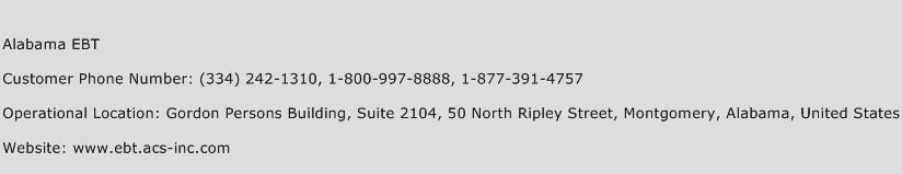 Alabama EBT Phone Number Customer Service