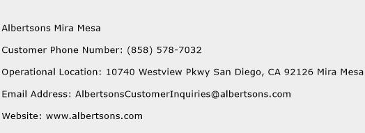 Albertsons Mira Mesa Phone Number Customer Service