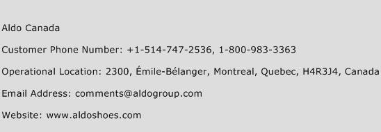 Aldo Canada Phone Number Customer Service