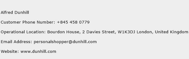 Alfred Dunhill Phone Number Customer Service