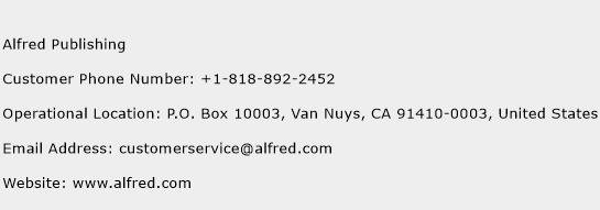 Alfred Publishing Phone Number Customer Service