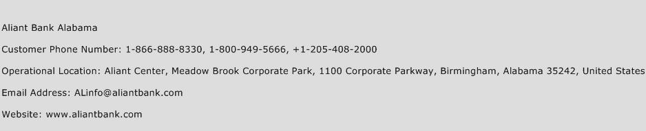 Aliant Bank Alabama Phone Number Customer Service