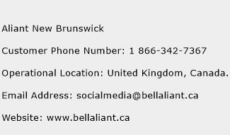Aliant New Brunswick Phone Number Customer Service