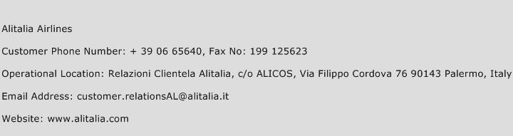 Alitalia Airlines Phone Number Customer Service