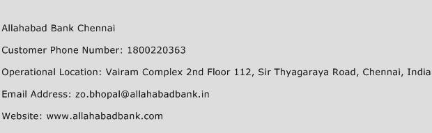 Allahabad Bank Chennai Phone Number Customer Service
