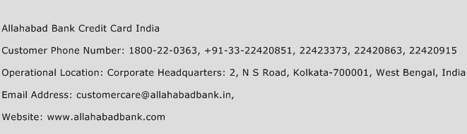 Allahabad Bank Credit Card India Phone Number Customer Service