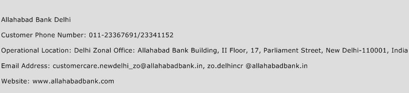Allahabad Bank Delhi Phone Number Customer Service