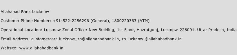Allahabad Bank Lucknow Phone Number Customer Service