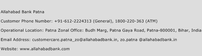 Allahabad Bank Patna Phone Number Customer Service