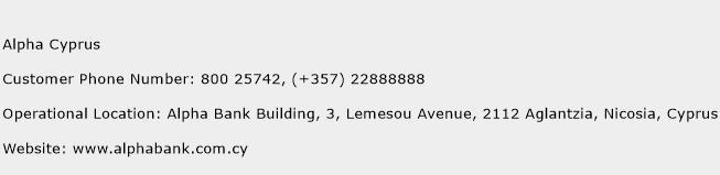 Alpha Cyprus Phone Number Customer Service