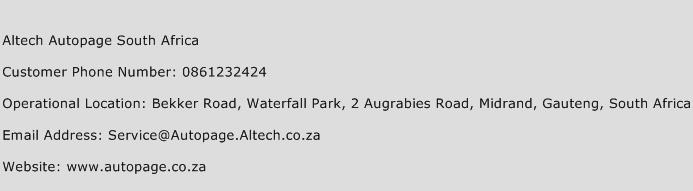 Altech Autopage South Africa Phone Number Customer Service