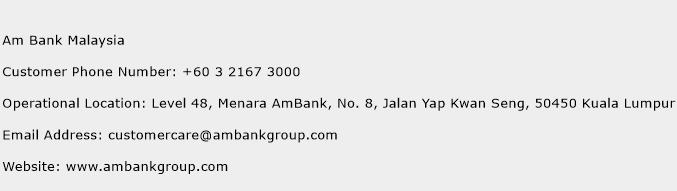 Am Bank Malaysia Phone Number Customer Service
