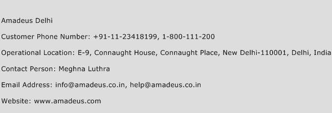 Amadeus Delhi Phone Number Customer Service