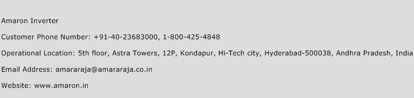 Amaron Inverter Phone Number Customer Service