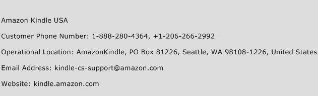 Amazon Kindle USA Phone Number Customer Service