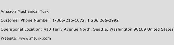 Amazon Mechanical Turk Phone Number Customer Service