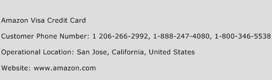 Amazon Visa Credit Card Phone Number Customer Service